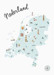 nederland geïllustreerd illustratie kaart map poster