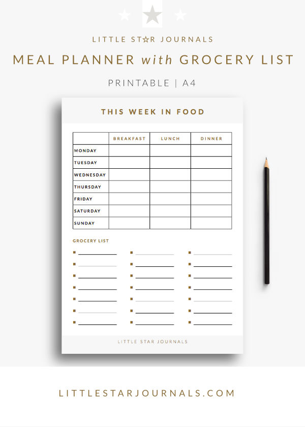 Printable Meal Planner with Grocery List - Free PDF download