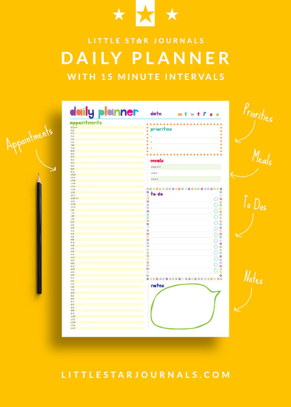 Free 15 minute daily planner printable little star journals for Online planner