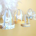 Free Printable Paper Bird Cage Decorations - Yellow and Gray