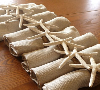Star-fish and jute napkin rings