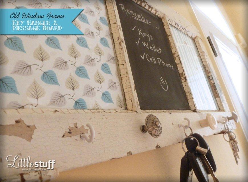 DIY Window Frame Key Hanger & Message Board