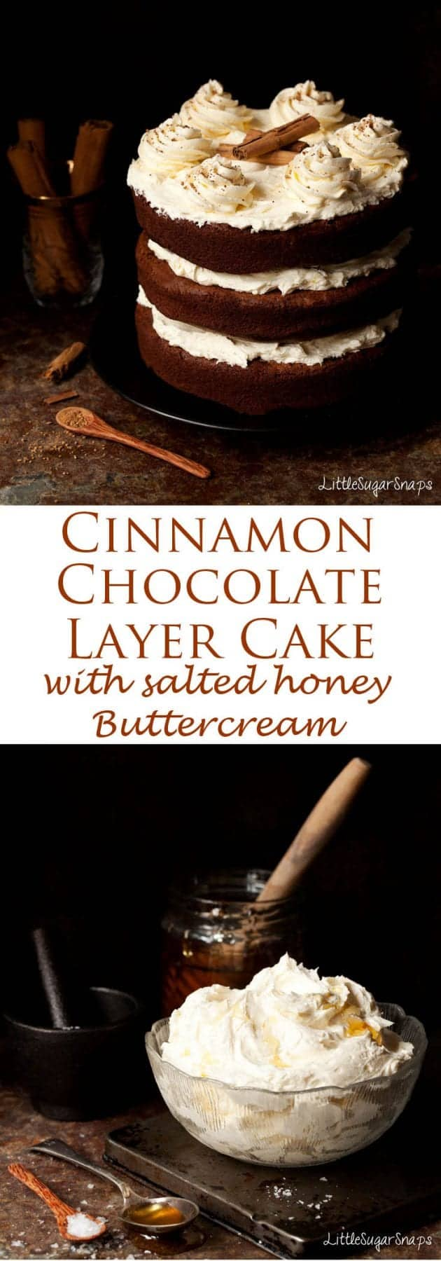 Intensely chocolatey with a hint of spice this soft, fudgy Cinnamon Chocolate Cake pairs so well with the piquant, mellow sweetness of the salted honey buttercream.