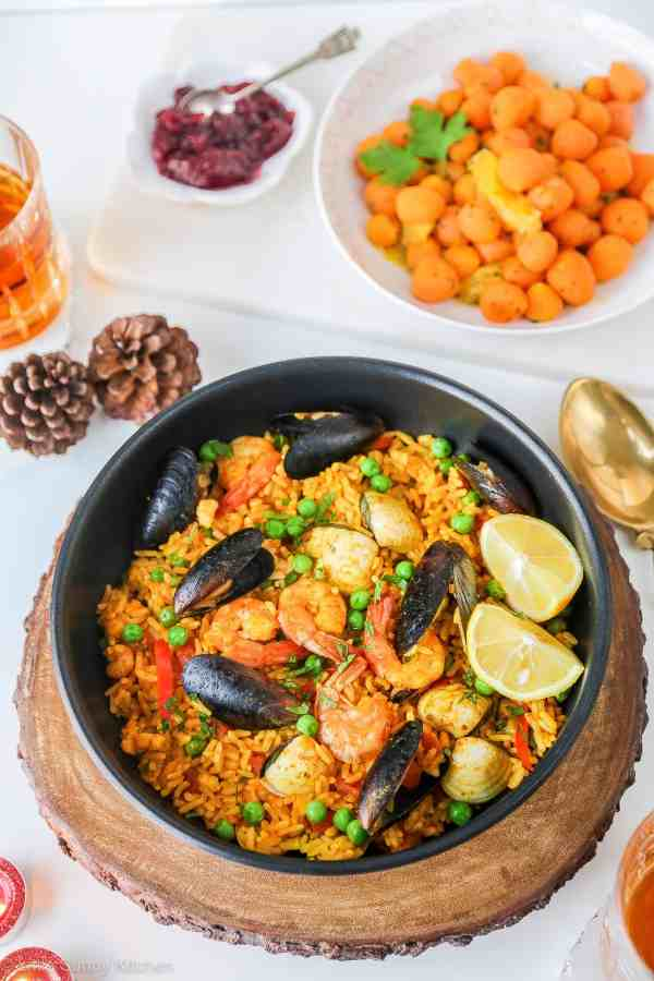 A colourful Spanish Seafood paella. Ready in under 20 minutes!