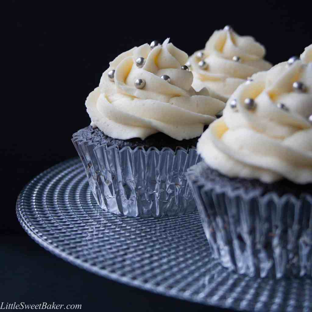 A light and fluffy dark chocolate cupcake with a creamy luscious white chocolate buttercream.