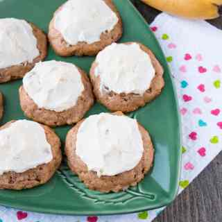 FROSTED BANANA COOKIES. Delicious and soft, cake-like cookies topped with a sweet and tangy cream cheese frosting. A great way to use up overripe bananas, that's faster and easier than making banana bread.