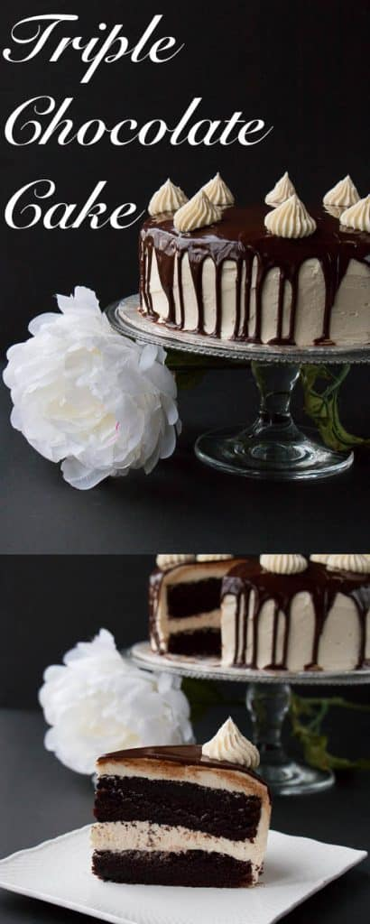 "A rich dark chocolate fudge cake surrounded with a creamy white chocolate buttercream and topped with a smooth chocolate ganache. This cake will have you saying ""OMG!"" It's that good."