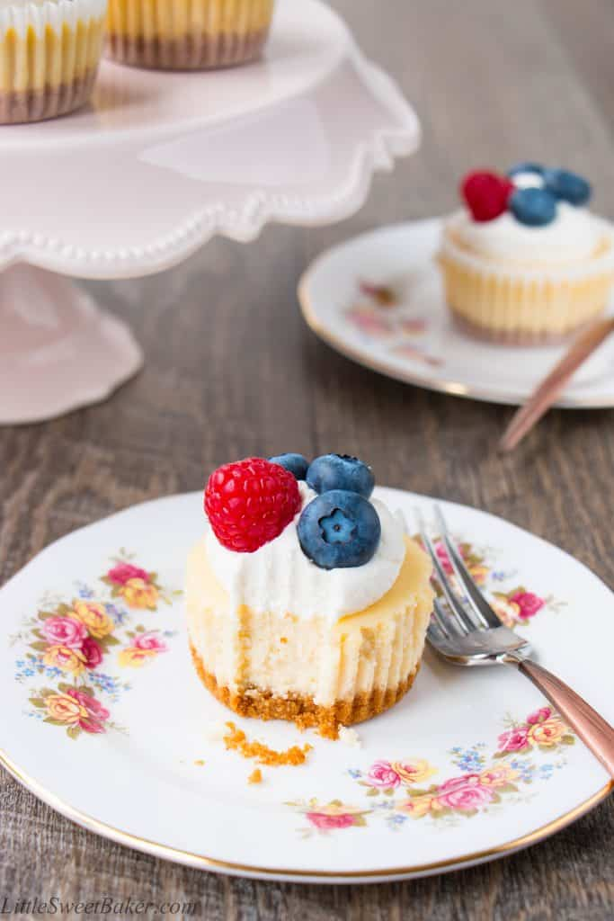A smooth, creamy, and tangy cheesecake baked on top of a buttery graham cracker crust. These delicious little beauties prove that good things come in small packages. Just 6 ingredients and 20 mins bake time. {Video recipe}