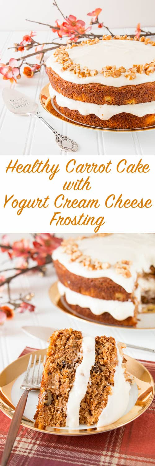 Tastes just like a regular carrot cake, but healthier and less calories. This moist and delicious cake is made with whole wheat flour, coconut oil, maple syrup and Greek yogurt. Your waistline will thank you!
