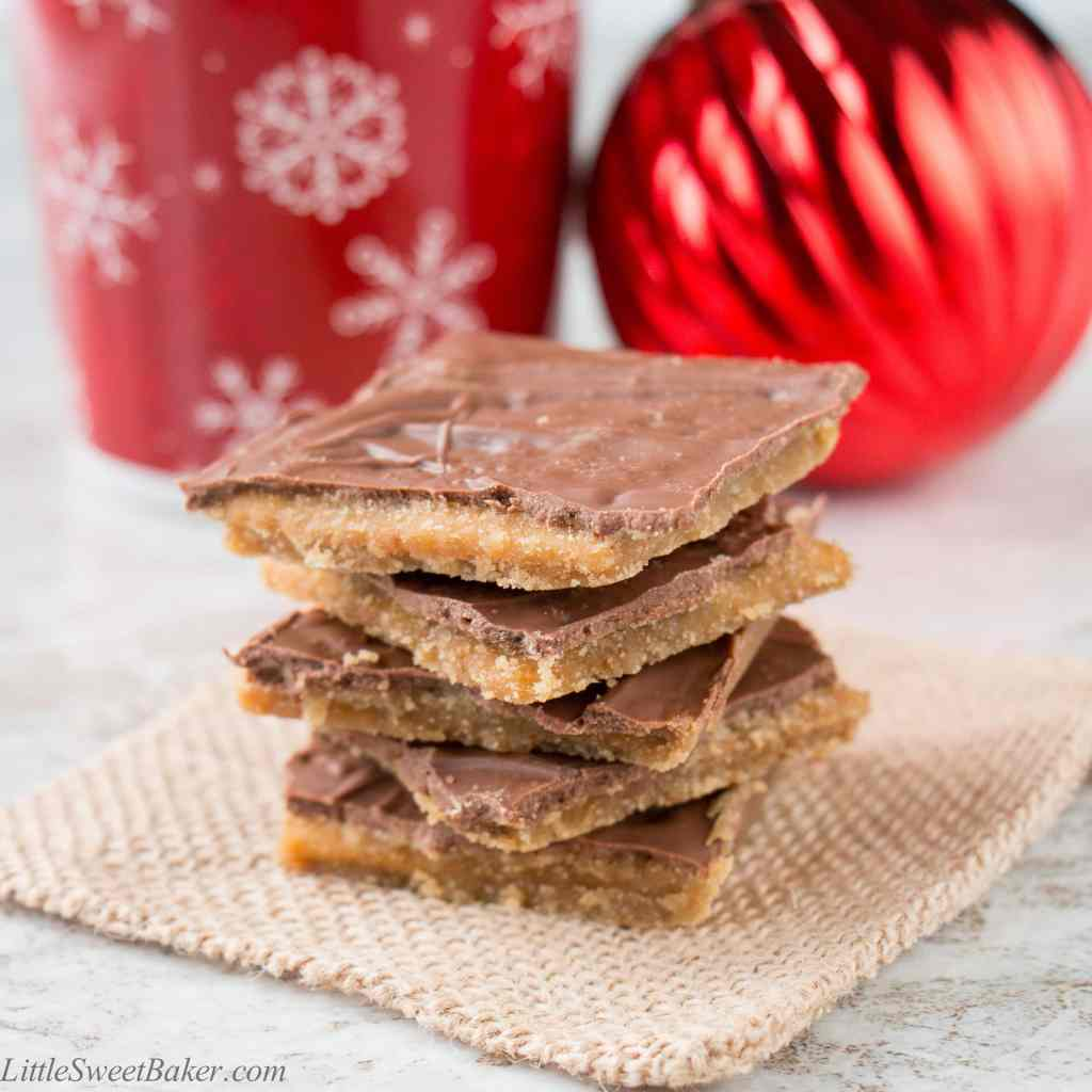 This toffee candy is chocolatey, crispy and highly addictive! Hence the name and it's made with only 4 ingredients.
