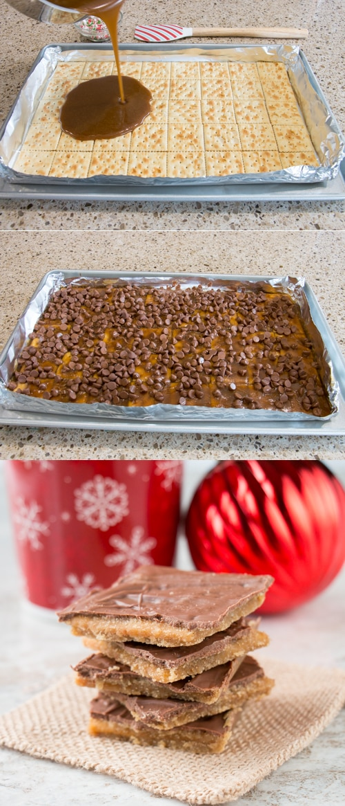 This toffee candy is chocolatey, crispy and highly addictive! Hence the name and it's made with only 4 ingredients. #christmascrack #crackercandy #saltinecrackertoffee