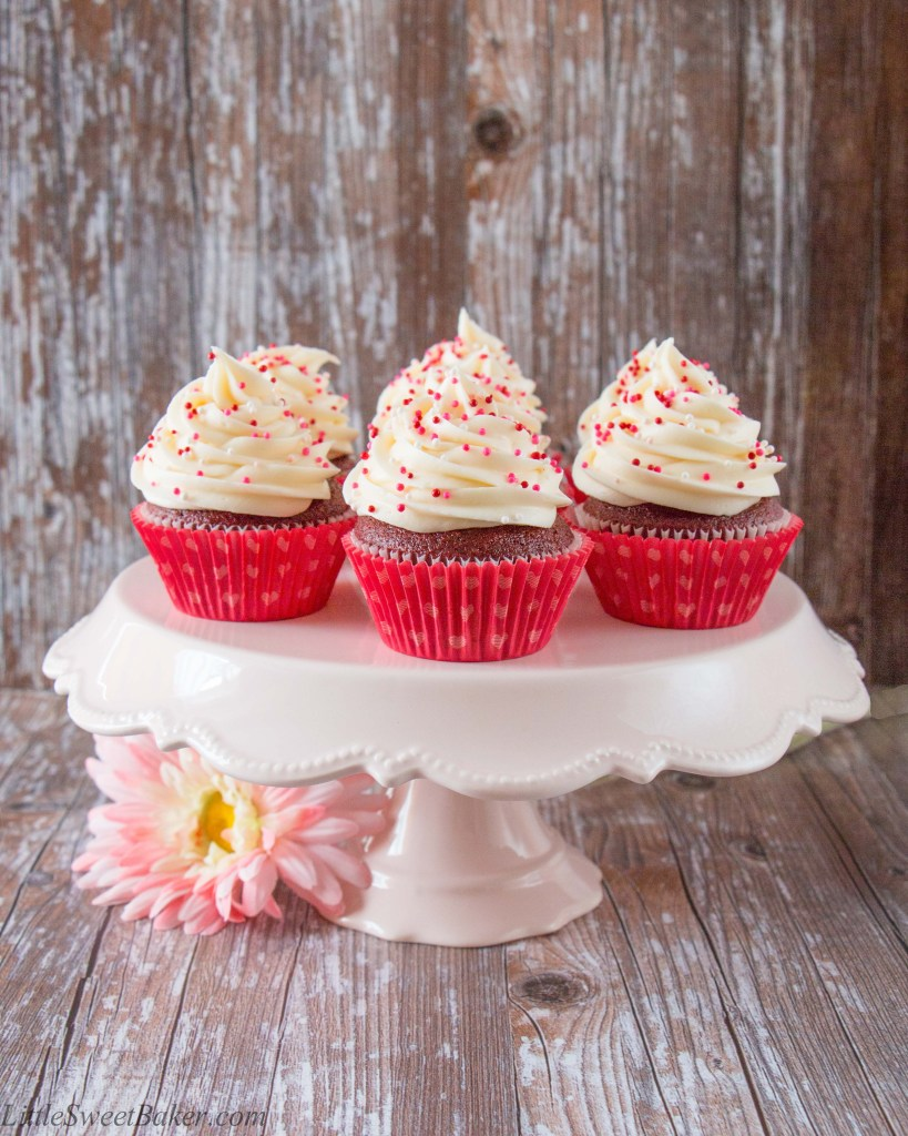 These red velvet cupcakes are as luxurious as they sound. They have a lovely chocolate-vanilla flavor and are soft, moist and fluffy. The frosting is creamy, tangy and perfectly sweet.