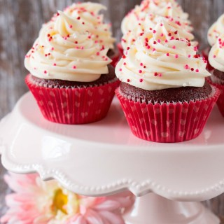 These red velvet cupcakes are as luxurious as they sound. They have a lovely chocolate vanilla flavor and are soft, moist and fluffy. The frosting is creamy, tangy and perfectly sweet.