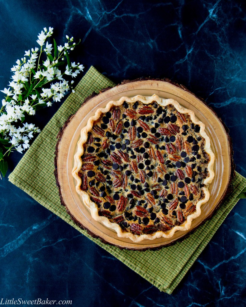 This pie combines crunchy pecans with the intense flavor of dark chocolate in a sweet-gooey filling. The addition of bourbon gives it a grown-up flair.