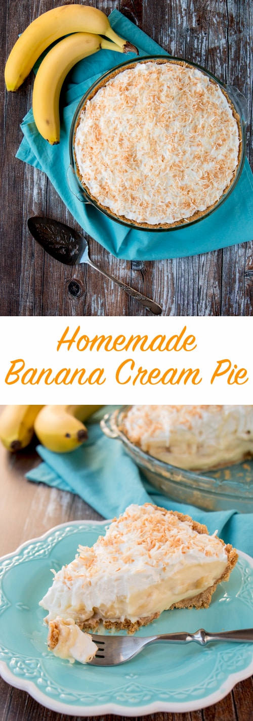 This amazing banana cream pie is made with a rich velvety-smooth homemade custard and it's lined with a honey graham cracker crust. Filled with delicious sweet slices of bananas and topped with fluffy whipped cream - it's absolutely pie heaven! banana cream pie | best banana cream pie | easy banana cream pie | old-fashioned banana cream pie | homemade custard | coconut banana cream pie | graham cracker crust