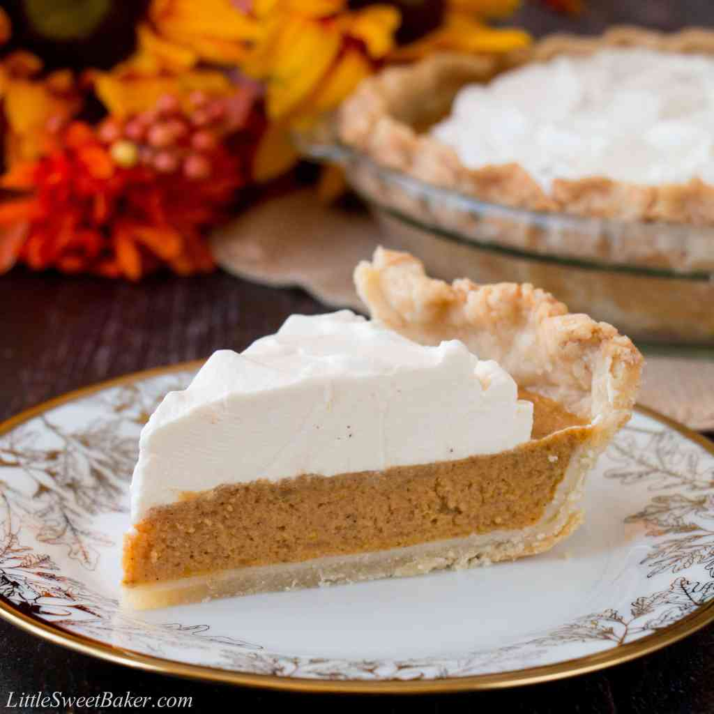 Sweet Potato Pie with Maple Whipped Cream - Little Sweet Baker