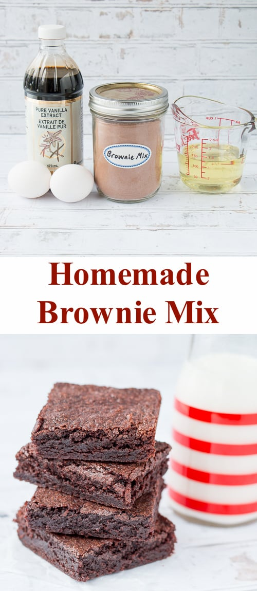 This homemade brownie mix makes it easier to quickly whip up a batch of brownies than a boxed mix and it tastes so much better! #brownierecipe #homemadebrownies #easybrownierecipe #chewybrownies #bestbrownies