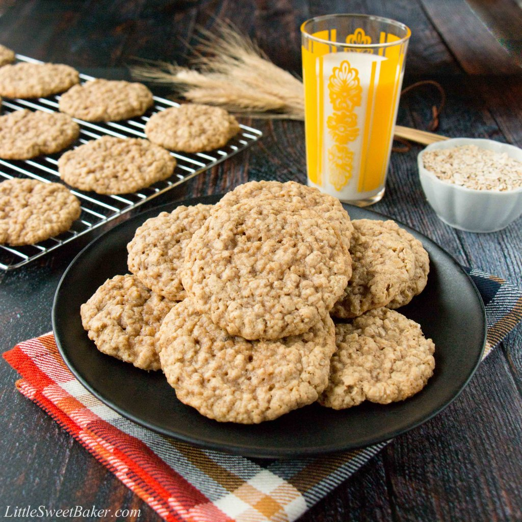 These simple soft and chewy oatmeal cookies are perfectly sweet and spiced with a hint of cinnamon. They are just like the ones grandma used to make. #oatmealcookies #chewyoatmealcookes #softoatmealcookies #oldfashionedoatmealcookies