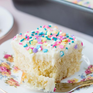 Vanilla Sheet Cake with Whipped Vanilla Buttercream
