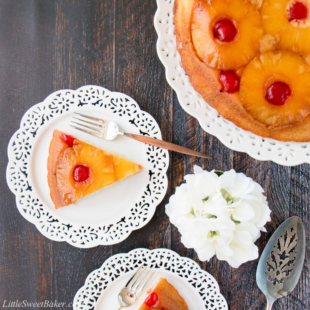 Sweet-juicy caramelized pineapple slices baked underneath a soft, rich and buttery cake. This cake is turned upside down to reveal a gorgeous presentation! #pineappleupsidedowncake #upsidedowncake #pineapplecake #buttercake