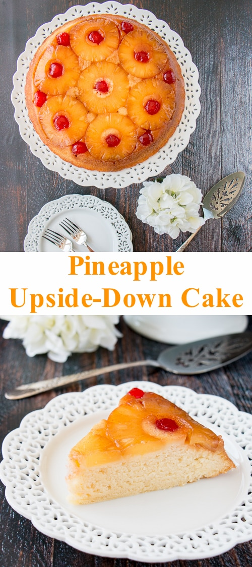 Sweet-juicy caramelized pineapple slices baked underneath a soft, rich and buttery cake, turned upside down to reveal a gorgeous presentation! #pineappleupsidedowncake #upsidedowncake #pineapplecake #buttercake