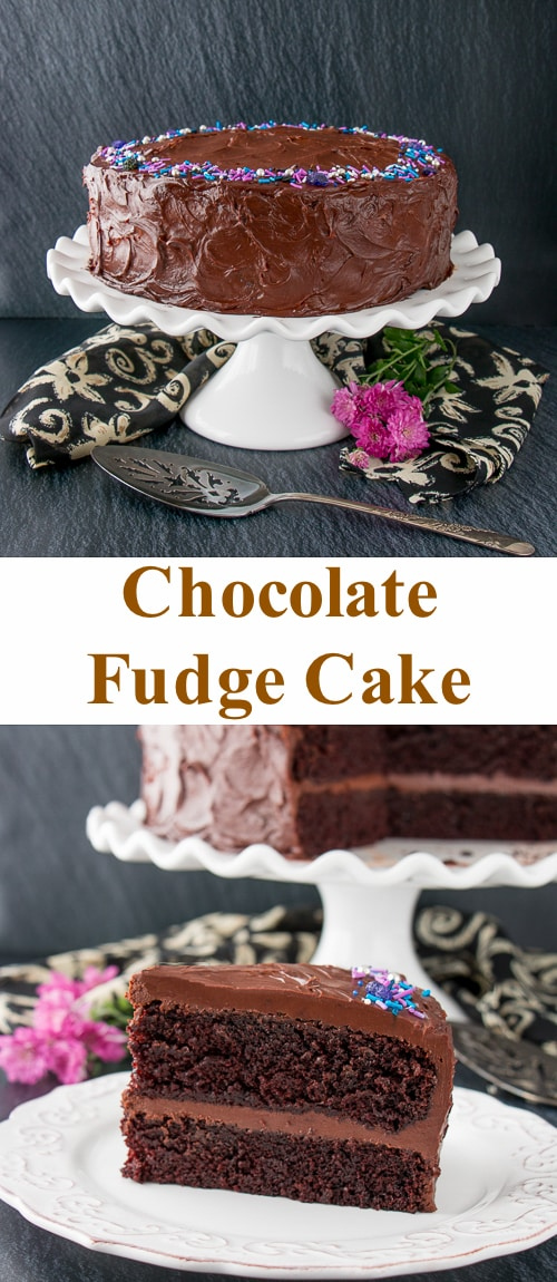This supremely moist and tender chocolate cake is surrounded by a rich chocolate fudge frosting. It's the best chocolate cake you'll ever taste, and it's uber easy to make! #chocolatecake #chocolatefudgecake #chocolatelayercake