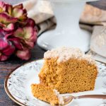 A streusel topped moist coffee cake flavored with pumpkin and fall spices. #pumpkincake #pumpkinspicecake #pumpkincoffeecake