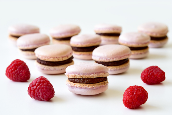 Raspberry Chocolate French Macarons