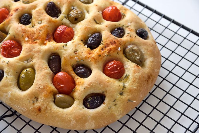 Olive and Tomato Focaccia Bread