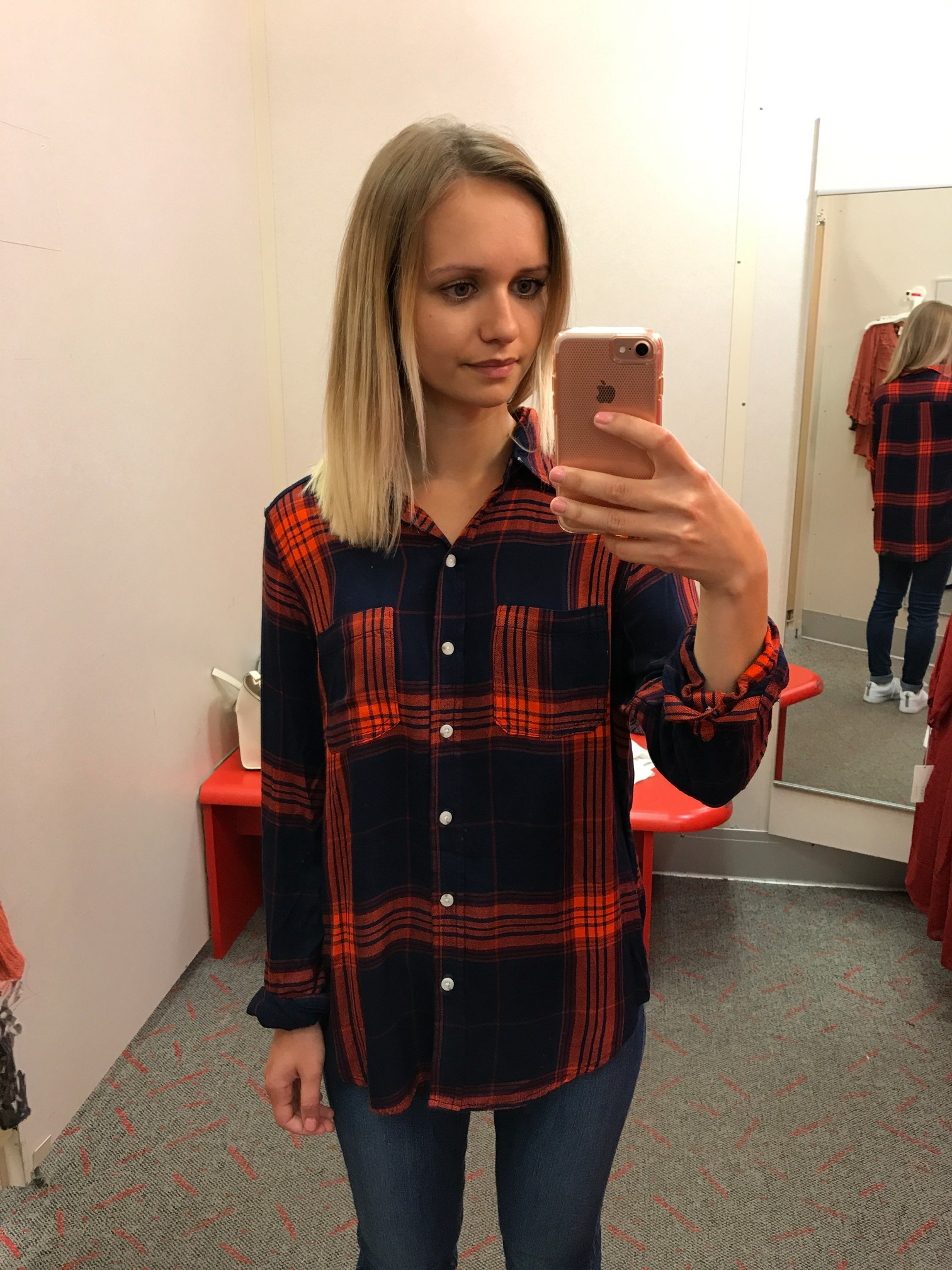 Target Mossimo Plaid Boyfriend Button Down Shirt fitting room adventures Little Things Olga connecticut style blog