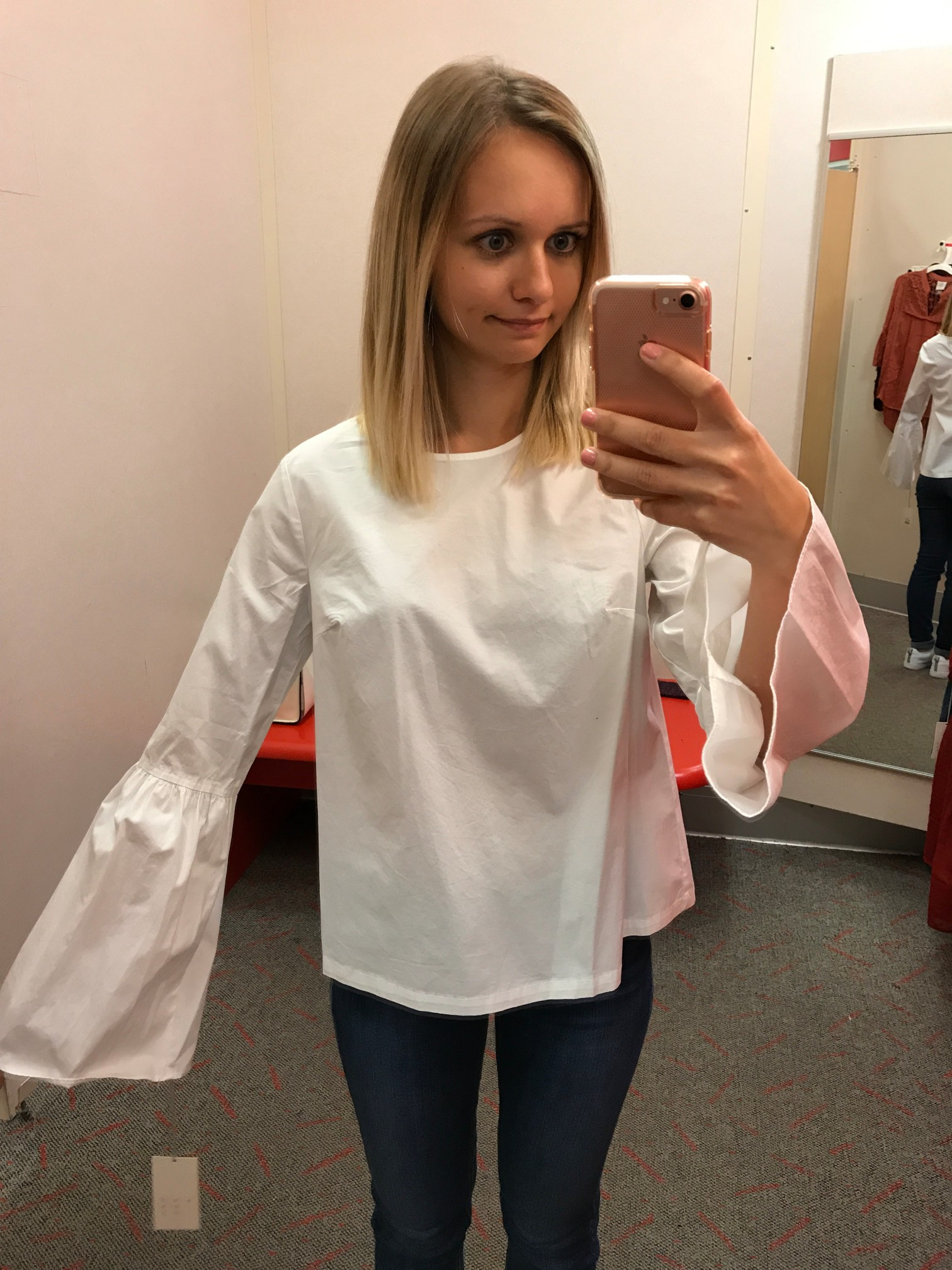 Target A New Day Bell Sleeve Poplin Shirt fitting room adventures little things olga connecticut style blog