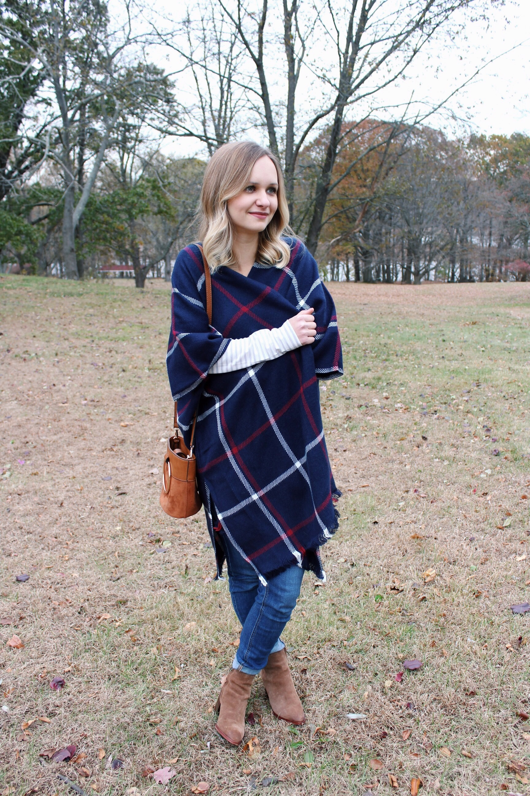 What to Wear on Thanksgiving: Plaid Poncho + Sam Edelman Booties | Little Things Olga