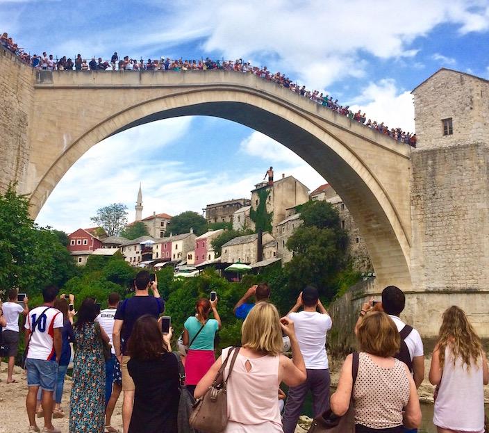 Diving off Stari Most - Old Bridge Mostar