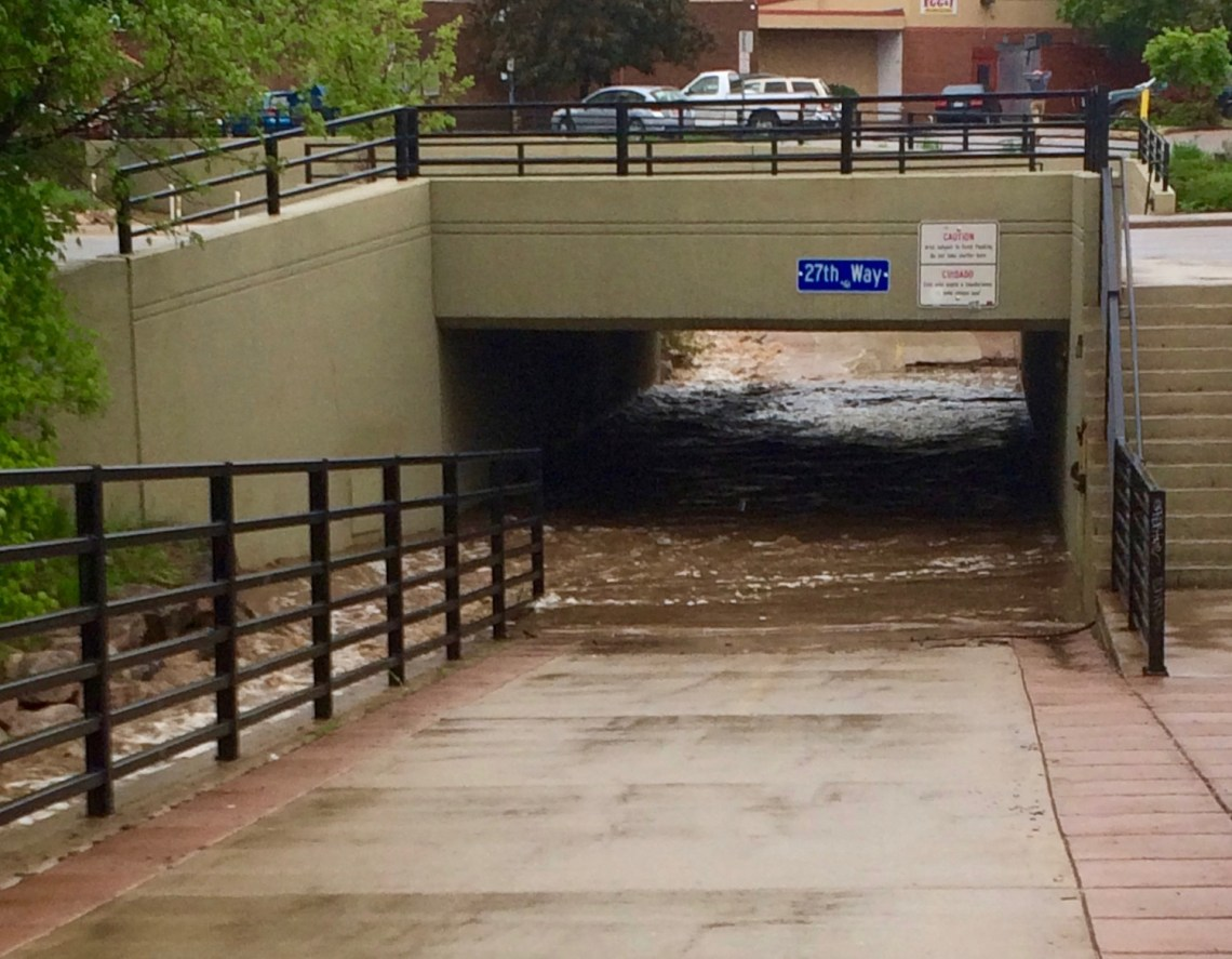 Boulder Creek overflowing on my running path
