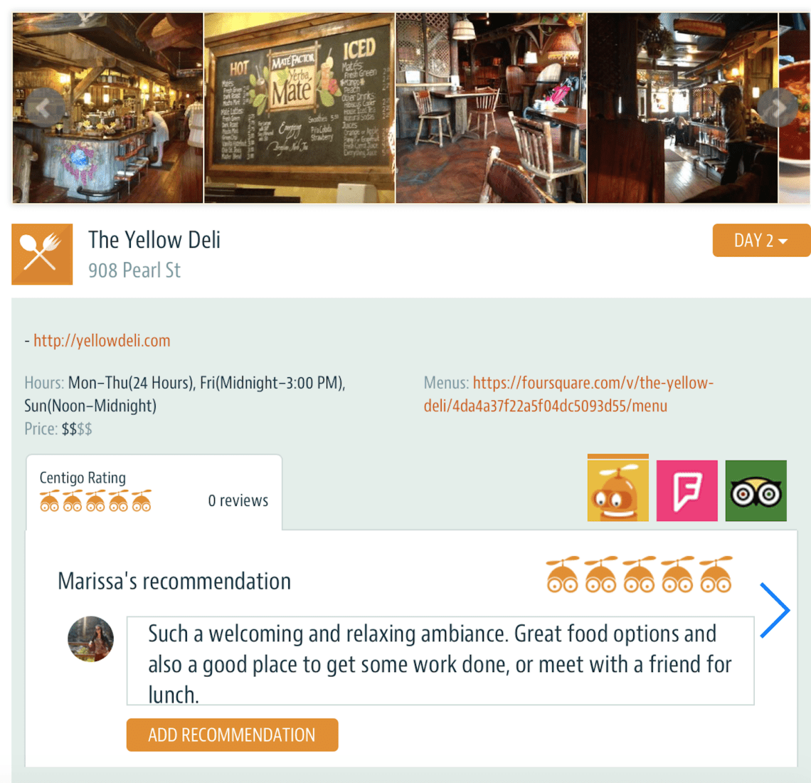 Making trip recommendations on Centrigo