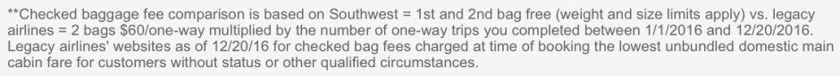 Southwest Airlines No Bag Fees
