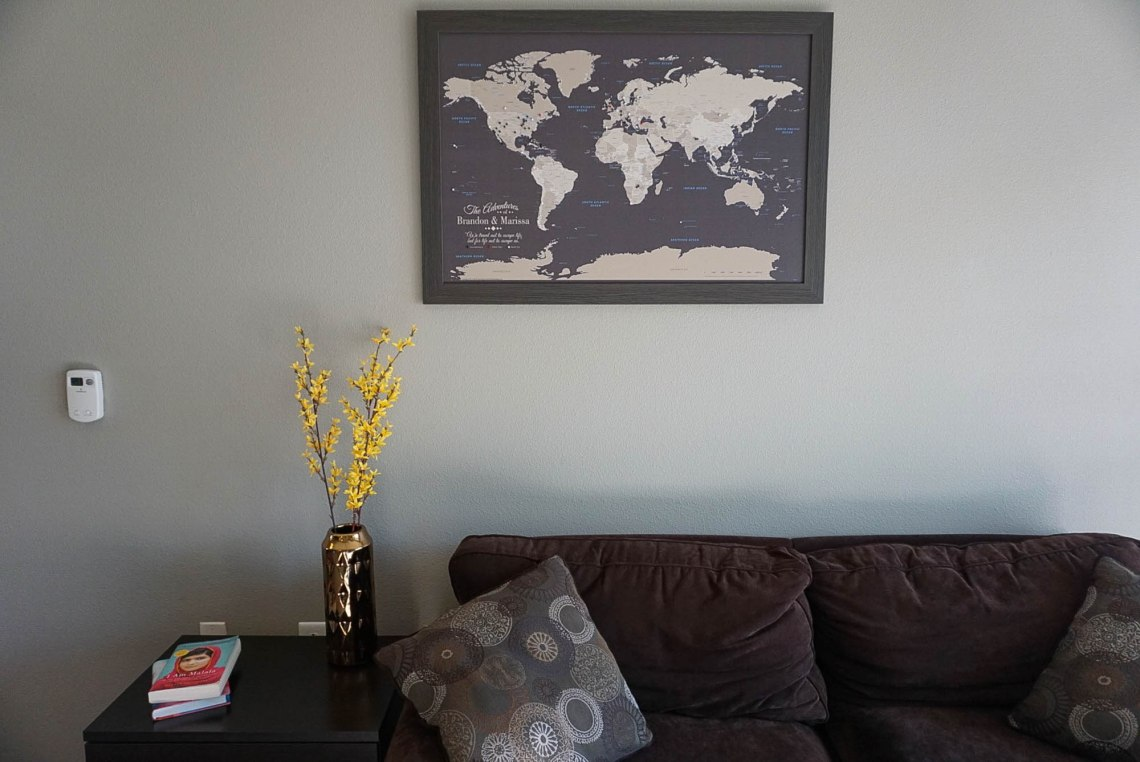 Push Pin Travel Map Home Decor
