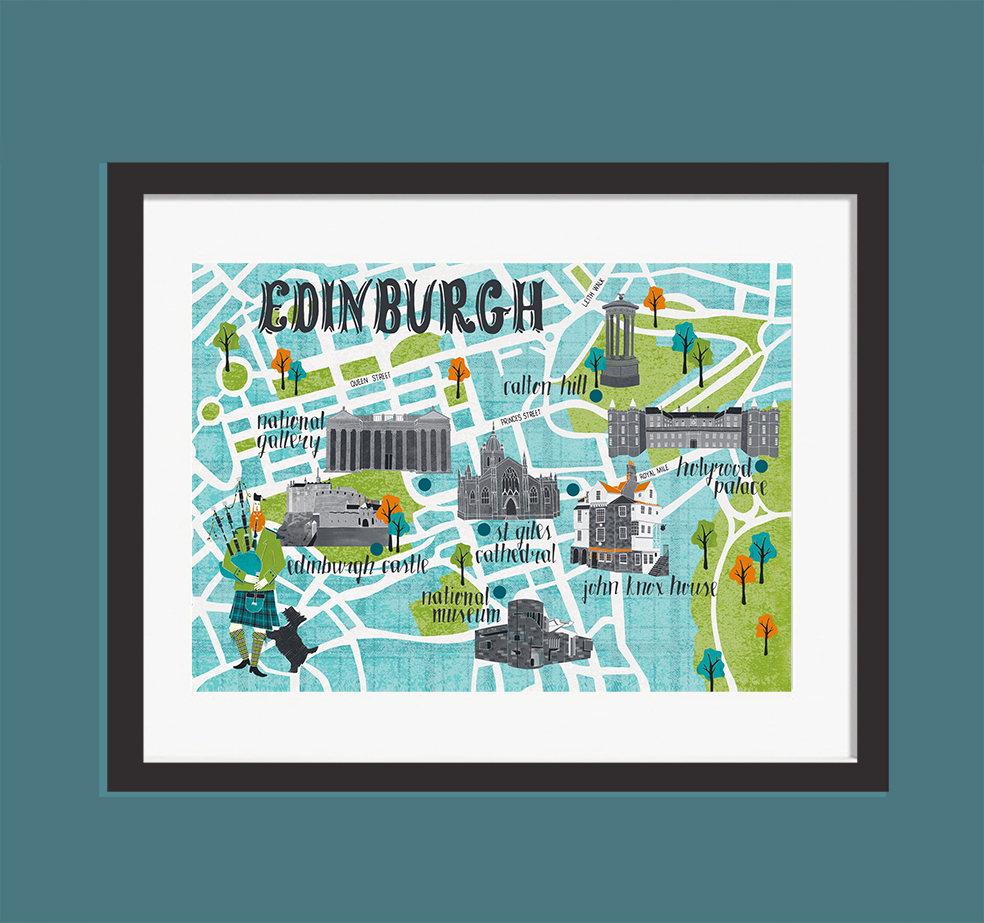 Edinburgh Map Print Mel Smith Designs - Travelers Gift Guide