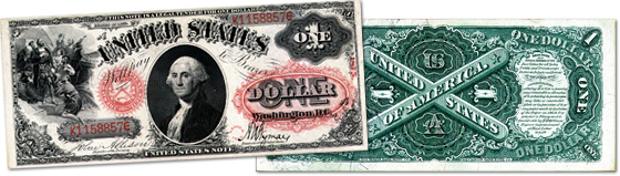[photo: $1 Legal Tender Note with Sawhorse back - Series 1875]