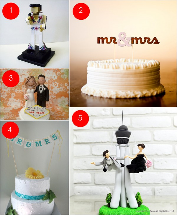 Etsy Lust  Cake Toppers      Little Vegas Wedding Etsy Lust  Cake Toppers