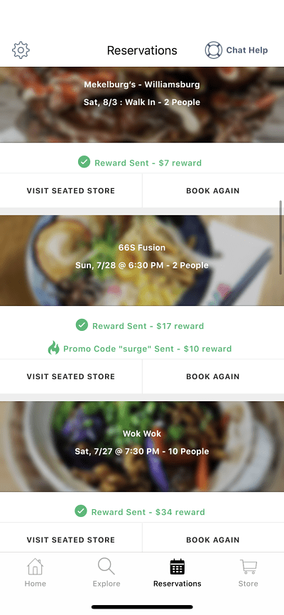 A screenshot of my Seated reservations, showing $68 in extra rewards