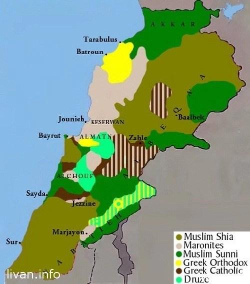 Расселение религиозных групп по территории Ливана