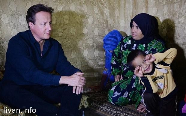 Лагерь беженцев в Ливане посетил премьер-министр Британии Кэмерон
