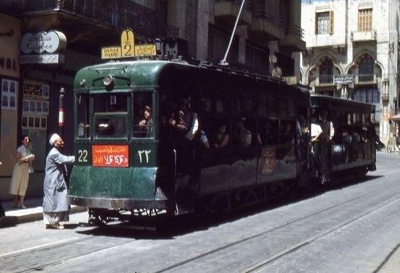 Трамвай в 60х на улице Бейрута