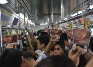 Inside Light Rail Transit LRT in Manila, Philippines, Southeast Asia