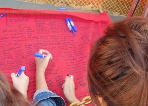 Signing Family Names, New Year Temple Tour in Bangkok, Southeast Asia