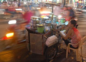 Night time Motorbikes in Ho Chi Minh City Saigon, Southeast Asia