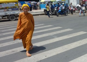 Monk in Ho Chi Minh City Centre Saigon, Vietnam, Southeast Asia