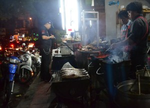 Bangkok Roadside Barbecues, Street Food in Thailand, Southeast Asia