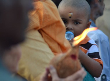 Flaming Coconut at Third Day of Thaipusam in Penang, Southeast Asia